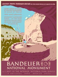 More retro National Park, see America posters. Bandelier National Monument, New Mexico