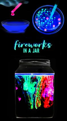 Glowing fireworks in a jar science experiment for kids. This activity is great for the of July! Wow the kids this summer and make fireworks in-a-jar ! We have tried this experiment before, but this time we wanted to see if we could make it GLOW ! Kid Science, Science Crafts For Kids, Science Experiments For Preschoolers, Science Activities For Kids, Cool Science Experiments, Science Fair Projects, Preschool Science, Science Education, Science Classroom