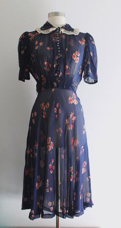 1930s Floral Dress / Vintage 30s 40s Navy by SavvySpinsterVintage