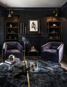 Leo Designs -  Georgeann Rivas and Stephanie Wirth have an uncanny ability to hone in on their clients desired aesthetic, which means they are constantly creating varied and refreshingly original spaces.  #LivingRoom #DarkColors #FirePlace