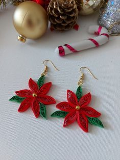 Diy Quilling Earrings, Paper Quilling Jewelry, Paper Quilling Patterns, Quilling Paper Craft, Paper Jewelry, Quilling Ideas, Diy Quilling Christmas, Diy Christmas Earrings, Holiday Jewelry
