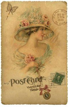Pretty Postcard with vintage image Vintage Prints, Éphémères Vintage, Images Vintage, Vintage Labels, Vintage Ephemera, Vintage Pictures, Vintage Cards, Vintage Paper, Vintage Woman