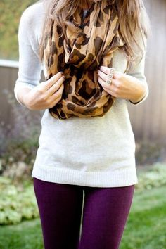 purple jeggings, white sweater, and infinity scarf.
