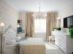 Спальня. Интерьер 3-х комнатной квартиры в классическом стиле и светлых тонах на ул. Коллонтай