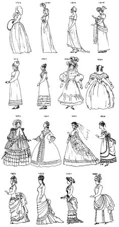 Georgian fashion 1760 – 1820:  Regency fashion 1820 – 1860:  Victorian fashion 1840 – 1900: