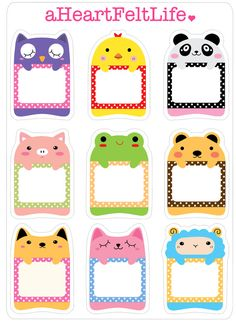 Cute Animal Frame Stickers for your Planner, scrapbook, calendar, etc.