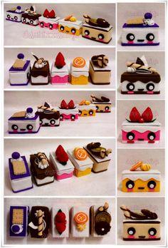 Cute Mini Cake Box Collection by SongAhIn on DeviantArt Felt Cake, Felt Cupcakes, Tissue Box Covers, Tissue Boxes, Felt Crafts, Diy And Crafts, Clay Box, Kawaii Diy, Paper Cake
