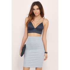 Tobi Short Story Crop Top (£14) ❤ liked on Polyvore featuring tops, navy, v neck crop top, cami crop top, v neck cami, cropped camisoles and short tops