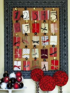 HGTV- Cork Advent Calendar  Make it a priority to count down the days to Christmas with a DIY advent calendar hung front and center in your home's entry. To do this, you need a frame, a basic cork board, holiday note cards and ribbon. Add five rows consisting of five cards in each row to the cork board with push pins