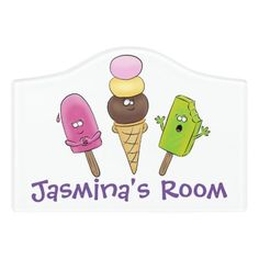 $14.46 | Cute funny ice cream popsicle cartoon trio #popsicle #icecream #sweets #treats #dessert #cartoon #illustration #funny #lolly #summer Kids Door Signs, Foam Adhesive, Dry Erase Board, Room Signs, Acrylic Material, Make Your Mark, Popsicles, Different Styles, Ice Cream