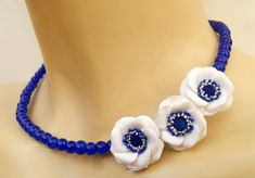 Blue necklace  Anemone  Windflower  Flower by insoujewelry on Etsy
