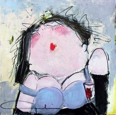 Gerdine duijsens temptation Stool Makeover, Funny Paintings, Big And Beautiful, Artsy Fartsy, Lady, Fashion Art, Diy And Crafts, Whimsical, Abstract Art