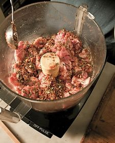 Homemade Sausage - great for biscuits and gravy. I added extra hot pepper and a bit of pepper. Homemade Sausage Recipes, Pork Recipes, How To Make Sausage, Sausage Making, Bangers Recipe, Kitchen Aid Recipes, Boneless Pork Shoulder, Martha Stewart Recipes, Bacon Sausage