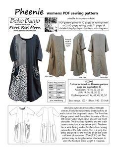 Pheenie Dress, womens PDF sewing pattern – Boho Banjo art to wear