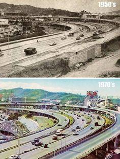 Autopista y Distribuidor El Pulpo (1950's-1970) Trinidad, Rafael Urdaneta, History Channel, My Town, City Photo, Simple, Retro, Travel, Collages