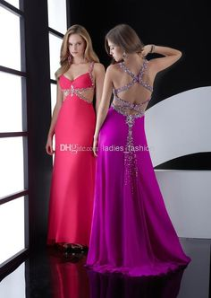 Glamorous Vintage Chiffon Prom Dress Long Formal Gown Sequins Beaded Spaghetti Straps Criss Cross Back Floor Length Sleeveless Purple Red Stores With Prom Dresses Super Cheap Prom Dresses From Ladies_fashion, $92.15  Dhgate.Com