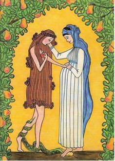 "Eve and Mary meet at Christmas. There is always hope! The Virgin Mary consoles Eve. [""Virgin Mary and Eve"" Crayon & pencil drawing by Sr Grace Remington, OCSO © Sisters of the Mississippi Abbey.] The Virgin Mary Consoles Eve Catholic Art, Religious Art, Roman Catholic, New Eve, Images Of Mary, Immaculate Conception, Spiritus, Holy Mary, Blessed Virgin Mary"