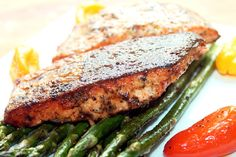 Creole Salmon with Roasted Asparagus and Peppers - Made this for dinner last night.  The best salmon recipe I've made so far!  Also one of the quickest. Restaurant quality for sure.