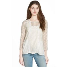 Lucky Brand Mixed Lace Peasant Top in White