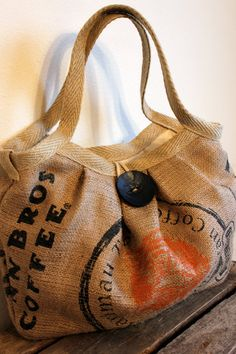 EcoFriendly Burlap Coffee Sack Bag with Large Button by Burlabags, $75.00