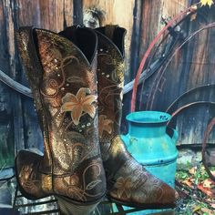 Embroidered Durango Leather Cowboys Beautifully embroidered with rhinestones and a sheen, these ladies have some serious attitude! Durango Shoes Heeled Boots