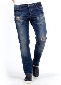 Diz ve Cep Altı Detaylı SlimFit Tarz Erkek Kot Pantolon