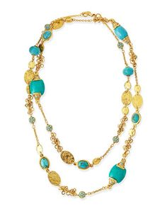 Long 24k Gold Plate & Turquoise Necklace by Jose & Maria Barrera at Neiman Marcus.