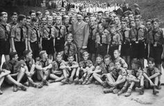 The Hitler youth meeting Hitler at the Obersalzberg 1937.