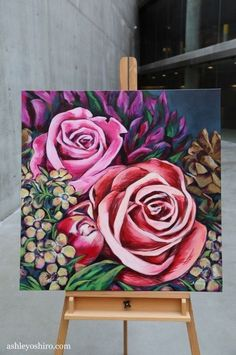 I wud love to make one like this Acrylic Art, Acrylic Painting Canvas, Canvas Art, Flower Canvas, Flower Art, Painting & Drawing, Watercolor Paintings, Rose Art, Arte Floral