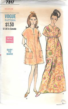 Vogue 7317-1960s Mod Caftan in Two Lengths Vintage Sewing Pattern, offered on Etsy by GrandmaMadeWithLove