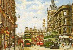 Pete Lapish - Boar Lane - Leeds - West Yorkshire -  England - AEC Regent Bus & Horsfield Tram - 1956