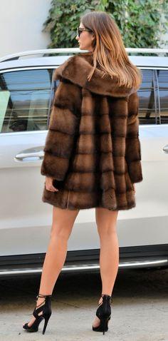 MINK FURS - new milano sable color royal saga mink fur coat hood - furs outlet