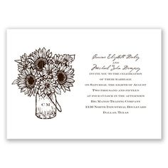 Sunflower Jar Wedding Invitations - in Chocolate #DavidsBridal #WeddingInvitations #SummerWedding #Sunflower http://www.invitationsbydavidsbridal.com/Wedding-Invitations/100-Invites-Under-60/2947-DB3142SJ-Sunflower-Jar--Chocolate--Invitation.pro?&sSource=Pinterest&kw=SummerBreeze_DB3142SJ