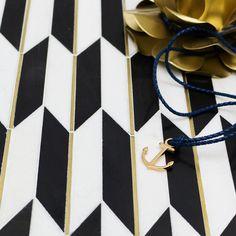 Gatsby Gold Nero & Thassos With Brass Line Marble Tile Marble Mosaic, Mosaic Glass, Mosaic Tiles, Wall Tiles, Floor Patterns, Tile Patterns, Gatsby, Buy Tile, Best Floor Tiles