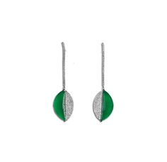 Each suspending a translucent half-moon shape cabochon of intense green colour, decorated by a pavé-set brilliant-cut diamond, joined to the brilliant-cut diamond hook, mounted in 18k white gold, jadeite cabochon approximately 19.8 x 7.55 x 5.56 mm. Accompained by Hong Kong Jade & Stone Laboratory report no. JC30031 dated 29 December 2006, stating that the jadeite is natural, known in the trade as 'A Jade'.