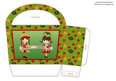 Merry christmas girls gift bag on Craftsuprint designed by Rhonda Brittain - This christmas gift bag is easy to put together. Print twice on good quality card, cut out, fold and glue together. - Now available for download!