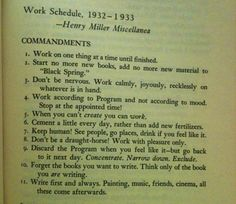 THE PROGRAM, by Henry Miller. OKA: words to work by