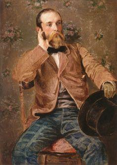 Richard Caton Woodville, Self-portait with Flowered Wallpaper