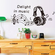 Removable Wall Stickers Living Room Bedroom Study Music Headphones Musical Elements Wall Stickers Stickers #Affiliate