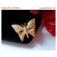 Now On Sale Vintage Rhinestone Butterfly Brooch, Signed Vintage... (€15) via Polyvore featuring jewelry, brooches, monarch butterfly jewelry, vintage butterfly brooch, vintage jewellery, butterfly brooch and vintage rhinestone brooch