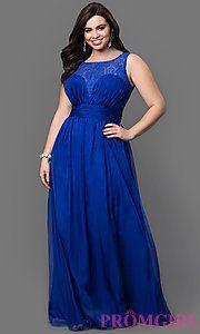 Buy Floor Length Sleeveless Lace Embellished Dress at PromGirl