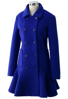 Blue Double Breast Coat with Frill Hem