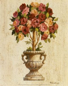 Pink and Red Rose Topiary Art