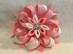 Pink Stacked Flower Hair Bow, Pink Hair Bow, Kanzashi Flower Hair Bow, Pink and White Hair Bow