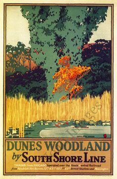 Dunes Woodland Vintage South Shore Line Poster Repro 24x36 | eBay