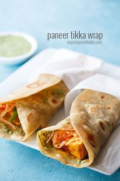 paneer kathi roll recipe with step by step photos – tophis is one of the best kathi rolls i have made and beats even the street side ones. this recipe yields a lip smacking paneer roll. Wrap Recipes, Veg Recipes, Good Healthy Recipes, Indian Food Recipes, Vegetarian Recipes, Snack Recipes, Cooking Recipes, Eat Healthy, Recipies
