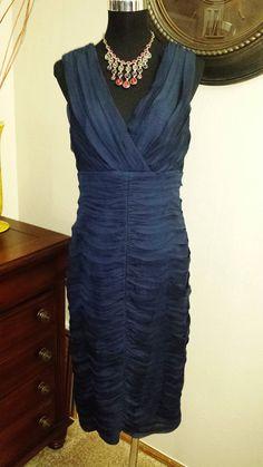 TADASHI SHOJI Blue Detailed SHEATH Dress , BEAUTIFUL! #Tadashi #Sheath #Formal