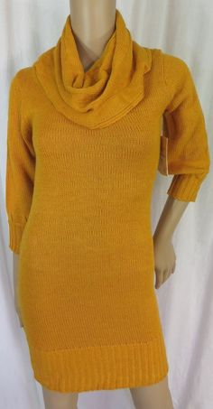 "NEW w/TAGS ""DEREK HEART"" YELLOW COWL NECK SWEATER DRESS - SEE ALL PICTURES #DEREKHEART"