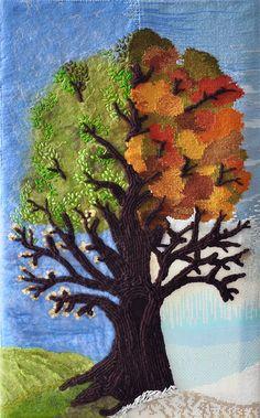 mixed media: weave, wetfelt, beadloom, embroidery tree of seasons