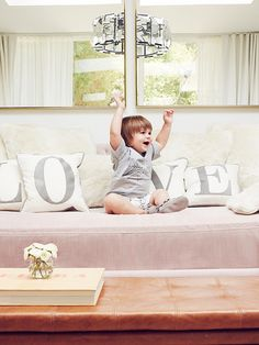 The actress opts for warm leather and soft pastels in her son's new room.